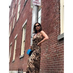 Dresses & Skirts - 🆕Harlem Leopard Print Satin Slip Dress Wrap Dress